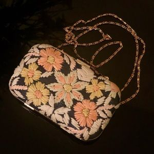 Anthropologie Audra Embroidered Wildflower Clutch